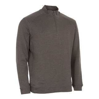 Kirkland Signature Cotton Quarter Zip Pullover Sweatshirt Brown Heather