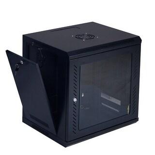 Costway 9U Wall Mount Network Server Data Cabinet Enclosure Rack Glass Door Lock - Black