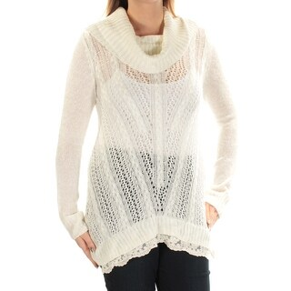 Womens Ivory Long Sleeve Cowl Neck Sweater Size L