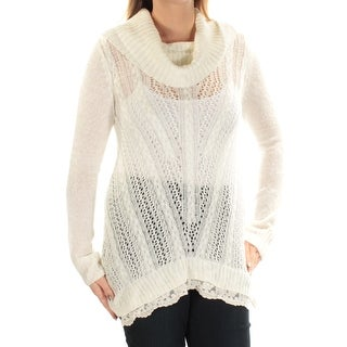 HIPPIE ROSE $44 Womens New 1482 Ivory Sheer Lace Hem Sweater L Juniors B+B