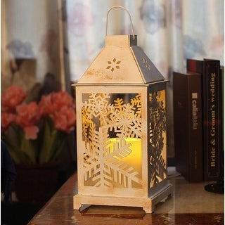 Christmas Lantern, LED candles with Timer,Battery Operated, Decorative Christmas Vintage Tree Decor, Outdoor&Indoor Use