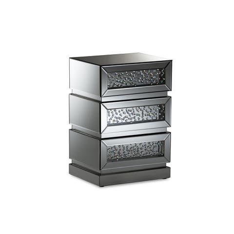 Sabrina Hollywood Glamour Style Mirrored 3-Drawer Nightstand
