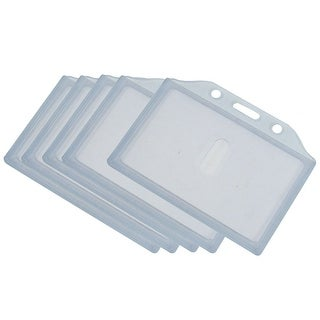 Clear Gray Plastic Horizontal Business Working ID Badge Card Holder 5pcs