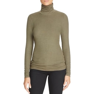 Three Dots Womens Turtleneck Top Jersey Ribbed