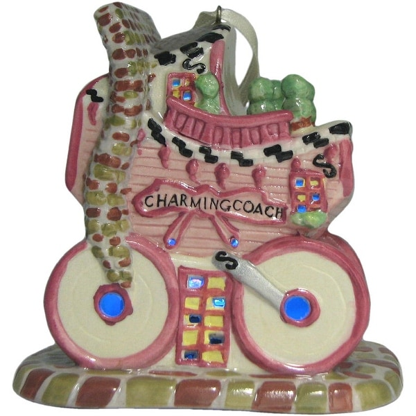 Whimsical Village Collection Pink Baby Carriage Ornament