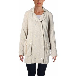 Free People Womens Linen Blend Double-Breasted Anorak Jacket