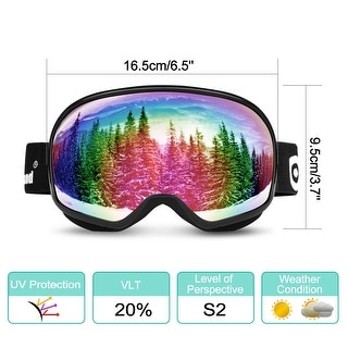 Odoland Large Spherical Ski Goggles for Kids Aged 8-16 OTG goggles S2 Double Anti-Fog Lens w/ UV400 Protection
