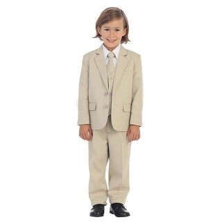 Boys Khaki Jewels & Gents Jacket Vest Shirt Tie Pants 5 Pc Suit