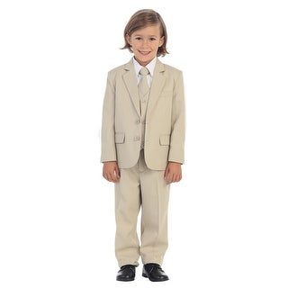 Little Boys Khaki Jewels & Gents Jacket Vest Shirt Tie Pants 5 Pc Suit