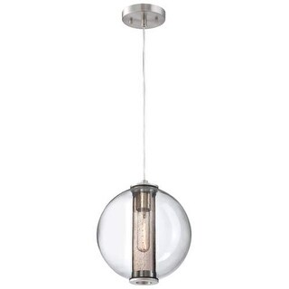 "Forecast Lighting 190155836 1 Light 9.88"" Wide Pendant from the Cosmos Collection - Satin Nickel"
