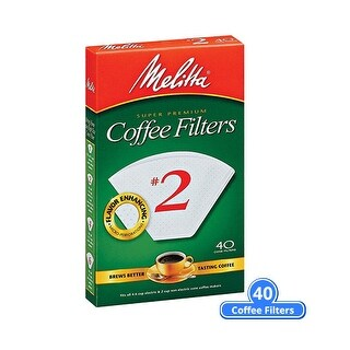 Melitta 622704 #2 White Cone Coffee Filter 40 Counts (Single-Pack) White Cone Coffee Filters 40 Counts