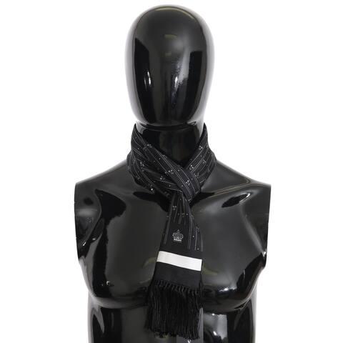 Dolce & Gabbana Black Silk Crown Fringes Mens Wrap 140cm x 15cm Men's Scarf - one-size