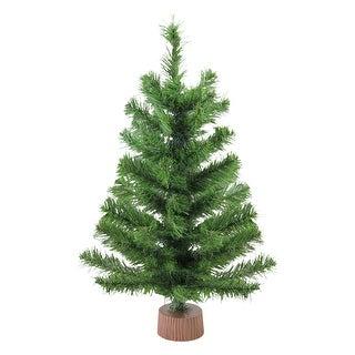 "24"" Mini Pine Medium Artificial Christmas Tree in Faux Wood Base - Unlit - 2 Foot"