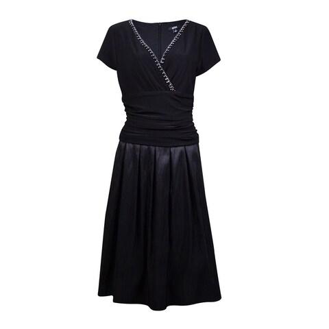 MSK Women's Rhinestone-Trim Jersey Taffeta Dress - Black