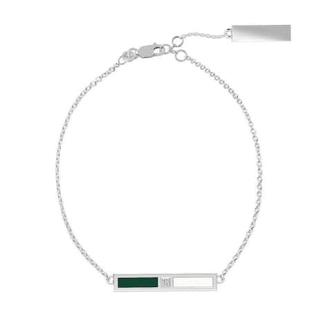 University Of Hawaii Sterling Silver Diamond Bar Chain Bracelet In Green & White