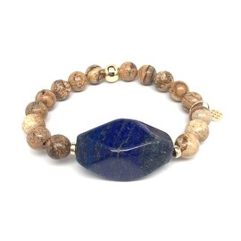 Tan Picture Jasper & Blue 'Rock Candy' stretch bracelet 14k Over Sterling Silver