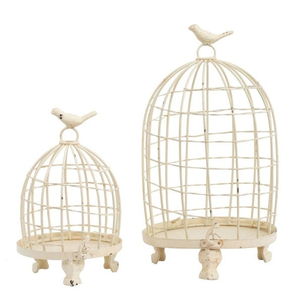 "Set of 2 White Stella Decorative Birdcages with Bird Finial 13.5"" - N/A"