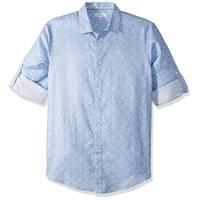 Calvin Klein Blue Printed Mens Size Small S Button Down Cotton