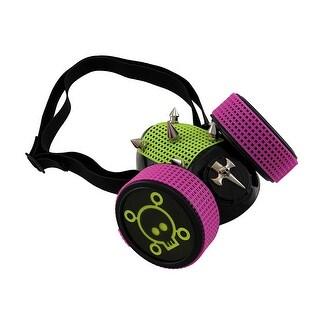 UV Fluorescent Pink/Yellow Spiked Cyberpunk Respirator Mask w/ Skulls