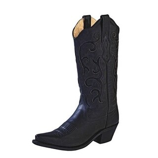 Old West Cowboy Boots Womens Stitching Leather Insole Black (More options available)