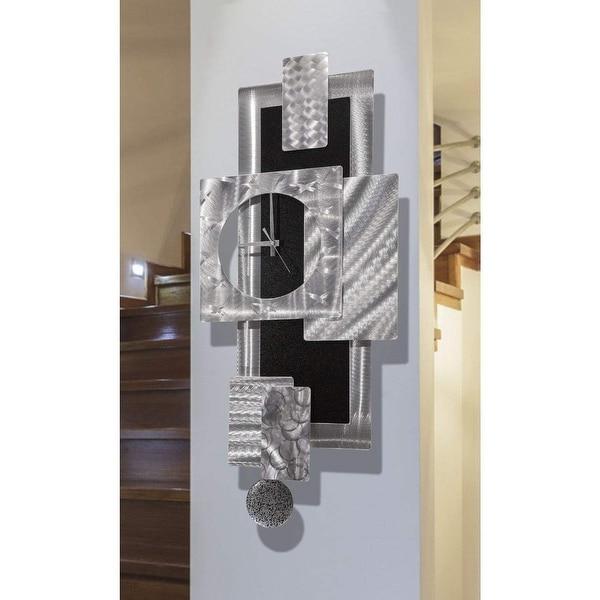 Statements2000 Large Metal Wall Art Clock Pendulum Modern Abstract Silver Black Sculpture Decor by Jon Allen - Titan Clock. Opens flyout.
