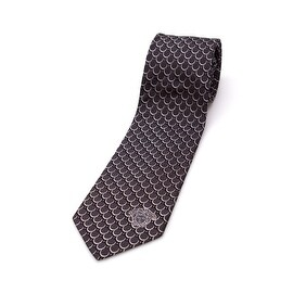 Versace Collection Men's Slim Silk Tie Black White