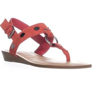 Carlos by Carlos Santana Talley Wedge Buckle Sandals, Crimson Red