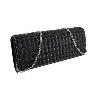 Glossy Black Faceted Pyramid Stud Satin Clutch Purse