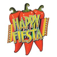 "Club Pack of 24 Red, Green and Yellow ""Happy Fiesta"" Red Chili Pepper Cutout Party Decorations 17"""