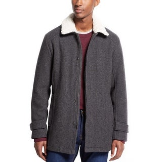 INC International Concepts Coat Large L Grey Tweed Wool Blend Sherpa Collar