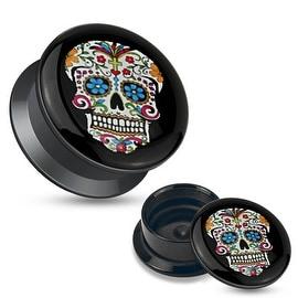 Blue Sugar Skull Black Acrylic Stash Screw Fit Plug (Sold Individually)