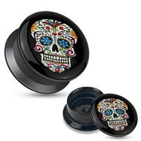 Blue Sugar Skull Black Acrylic Stash Screw Fit Plug (Sold Individually)
