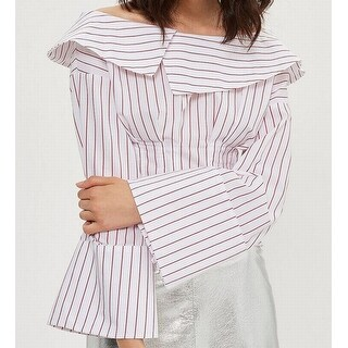 TopShop NEW Red Women's Size 12 Striped Bell-Sleeve Corset Blouse