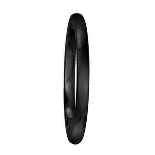 Women's Black Polished Titanium Domed Wedding Band by Crown Ring - 2.5mm