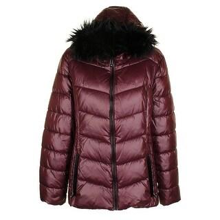 Inc International Concepts Merlot Black Faux-Fur-Trim Puffer Coat XXL