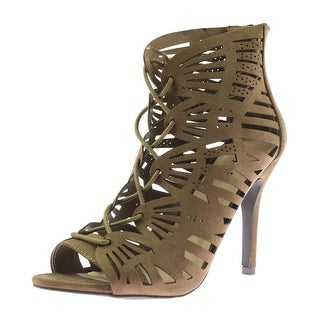 Qupid Womens Katana Dress Sandals Faux Suede Lace-Up