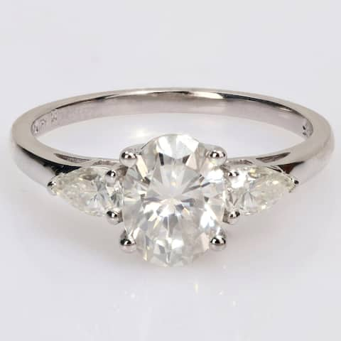 Miadora 1 3/4ct DEW Oval and Pear-cut Moissanite 3-Stone Engagement Ring in Sterling Silver