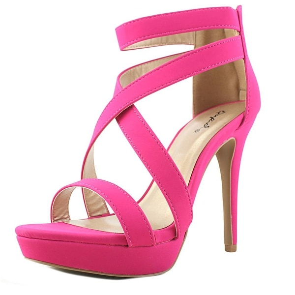 Qupid Clio Women Open Toe Leather Pink Sandals