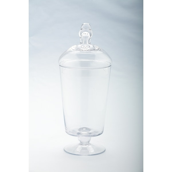 """12"""" Clear Cylindrical Shaped Hand Blown Glass Jar with Finial Lid - N/A"""