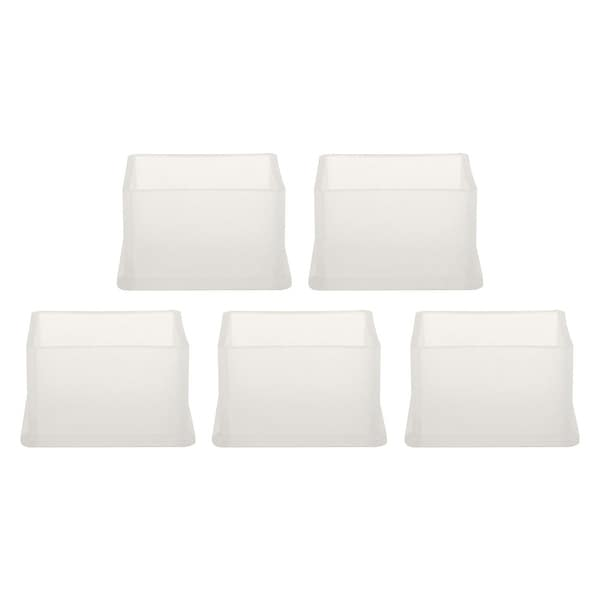 "Clear PVC Chair Leg Caps End Tip Feet Cover Furniture Glide Floor Protector 5pcs 1.18"" x 1.57"" (30x40mm) Inner Size"