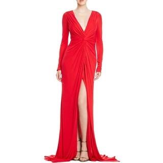 Badgley Mischka Womens Evening Dress Knot-Front Surplice