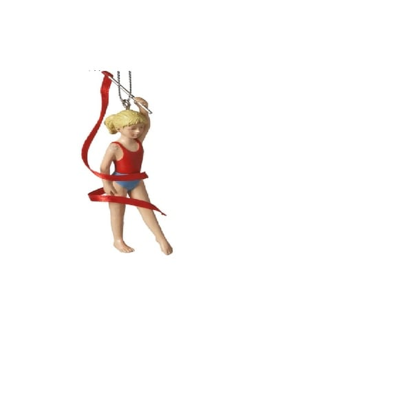"4"" Aspiring Gymnast with Ribbon Resin Christmas Ornament - RED"