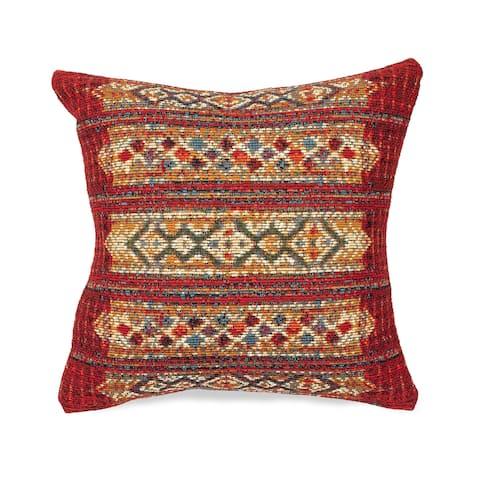 Liora Manne Marina Tribal Stripe Indoor/Outdoor Pillow Red
