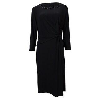 Anne Klein Women's Beaded Neck Faux Wrap Jersey Dress