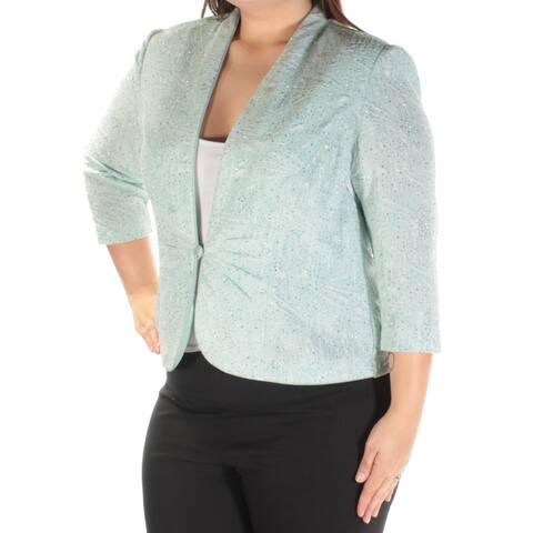 ALEX EVENINGS Womens Green 3/4 Sleeve Open Top Size: 16