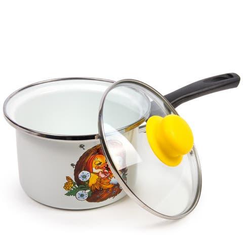 STP Goods Cute Ducklings Enamel on Steel 1.6-quart Saucepan w/Lid
