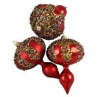 Red Glitter Sequin Beaded Shatterproof Christmas Finial Ornaments