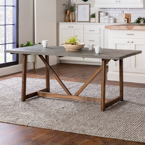 The Gray Barn 72-inch Solid Wood Trestle Dining Table. Opens flyout.