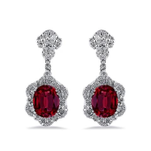 Auriya 5 3/4ct Fancy Oval-cut Red Ruby Halo Diamond Drop Earrings 1 7/8ctw 18k Gold