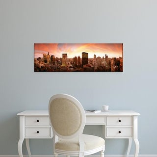 Easy Art Prints Panoramic Images's 'Sunset Skyline Chicago IL USA' Premium Canvas Art